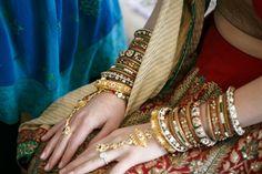 bangles + finger bracelet | Katie & Vish's Fabulous Florida Double Wedding - Gallery - TheBigFatIndianWedding.com