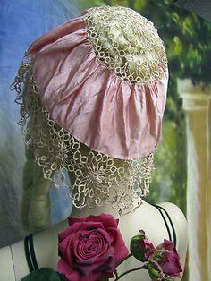 ANTIQUE pink SILK ecru LACE TATTING hat BONNET boudoir CAP handmade ORIGINAL