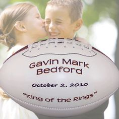 Dixie Midwest -  Personalized Ring Bearer Full Size Footballs, $39.95 (http://www.dixiemidwest.com/personalized-ring-bearer-full-size-footballs/)