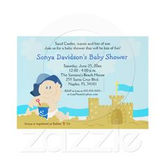 Beach Baby Sand Castle Boy Baby Shower 5x7 #allpetscherished