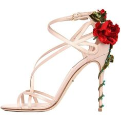 DOLCE & GABBANA 105mm Keira Roses On Silk Satin Sandals (€1.265) ❤ liked on Polyvore featuring shoes, sandals, heels, high heels, blush, heeled sandals, rose sandals, beaded sandals, high heel sandals and high heel shoes