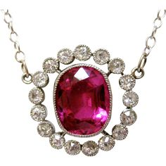 edwardìan diamond ruby pendant | Edwardian Sapphire and Diamond Gold Necklace from kirstenscorner on ...