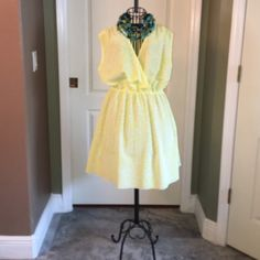 Brand NEW Without Tags Kardashian dress It could be use as a mini w leggings; Beach cover. Very pretty! It will fit a med/large. Bright Lemon yellow spots and white . Kardashian Kollection Dresses Mini
