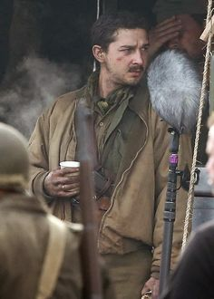 """Sneak Peek new set images from Columbia Pictures """"Fury"""", the currently filming WW II action film starring Brad Pitt as a 'Sherman' tank co. Shia Labeouf Fury, Brad Pitt Fury, Shia Labouf, Fury 2014, Shell Shock, Sherman Tank, Columbia Pictures, Action Film, Mustache"""