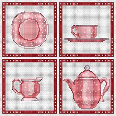 Kitchen, dishes, saucer, potty, jug, teapot, free cross stitch patterns and charts - www.free-cross-stitch.rucniprace.cz