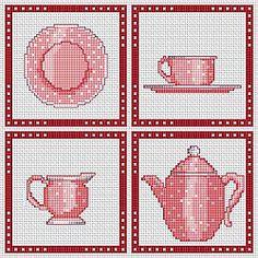 Kitchen, dishes.  4 cross stitch patterns, free.