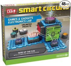 Explore unlimited electronic projects to create working games and gadgets. Complete the circuit to make a quiz show game, an electronic drum kit, a motion-sensing room alarm, and much more using 10 smart modules and the powerful microprocessor module. Engineering Toys, Electronic Engineering, Electrical Engineering, Electronic Kits For Kids, Toys For Boys, Kids Toys, Baby Toys, Circuit Games, Circuit Board