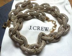 Authentic J. Crew Classic Crystal Pave Link Gold Necklace Statement BLOG FAVE J Crew Necklace, Gold Necklace, Chain, Crystals, Classic, Link, Blog, Stuff To Buy, Jewelry