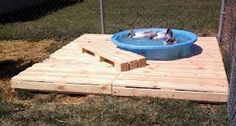 diy deck pallets - Google Search, good way to keep the pond area from getting muddy