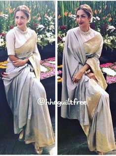 The saree and it's colour Elegant Designer Indian Saree Click VISIT above for more options Ethnic Outfits, Indian Outfits, Indian Dresses, Trendy Outfits, Sari Blouse Designs, Designer Blouse Patterns, Moda Indiana, Modern Saree, Indian Look