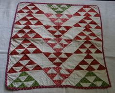 """19thC Pennsylvania Doll Quilt ~ flying geese pattern, 19 3/4"""" x 19"""", Stone Croft Antiques"""