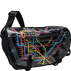 laptop messenger bag with NYC subway map #travel