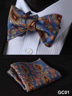 BF3023B Blue Yellow Paisley 100%Silk Jacquard Woven Men Butterfly Self Bow Tie BowTie Pocket Square Handkerchief Hanky Suit Set