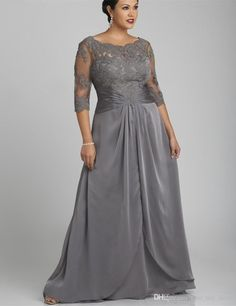 d2b07f8c7a Popular Style Plus Size Gray Mother of the Bride Dress 3/4 Sleeve Scoop  Neck Lace Chiffon Floor Length Formal Gowns Custom