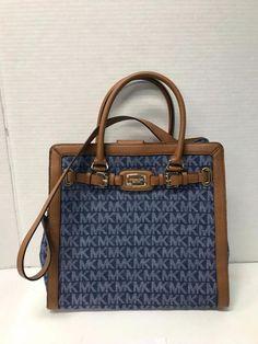 a93b7a3719f8 Michael Kors Hamilton Tote Handbag Blue Signature Brown Leather Trim Bag  for sale online | eBay