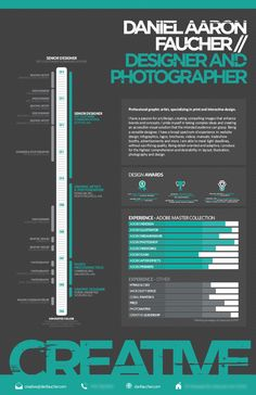 Infographic Resume examples for inspiration. Use these samples as an inspirational template to create your own personal Infographic Resume. Graphic Design Cv, Cv Design, Resume Design Template, Design Resume, Resume Templates, Fashion Resume, Visual Resume, Infographic Resume, Portfolio Resume