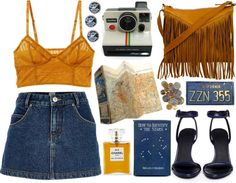"""Blue and Mustard"" by dontbelievetheeyes on Polyvore"