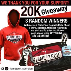 #Repost @flametech_scorpion (@get_repost)  We are approaching 20k followers and wanted to offer this GAW as a thank you to all who are supporting us and our products! -Simply like our page -Repost the image using #FT20KGAW and tag a friend!  3 random winners will receive a Flametech tool bag tee shirts a hoodie a magnetic flashlight and stickers! Winners will be selected on Friday December 22nd at noon.  #FT20KGAW #flametech #scorpion #welding #welders #gasaxe #torches #tips #oxyacetylene…
