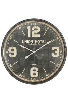 horloge en bois et métal industrie sur