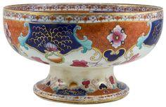 Antique English Imari Style Stem Bowl with Chinese Decoration, 19th Century Victorian