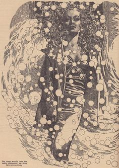 Virgil Finlay, Thrilling Wonder Stories. No signature. Must be the left side of a 2-page spread.