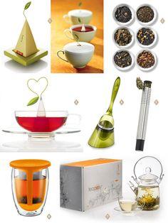 1. Tea Forté, 2. Chocolate Truffle Tea Collection, 3. Sontu Tea Cup and Saucer, 4. Tea Infuser, 5. Tea Infuser Wand, 6. Bodum 12-oz. Tea For One Tea Infuser Set, Orange, 7. Teaposy Blossom Gift Set