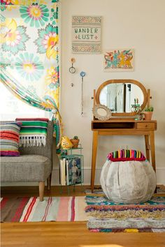 Image result for yellow dresser boho room