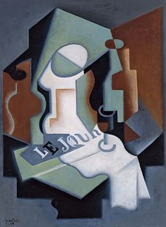 Cubism Juan Gris (Spanish, Bottle and Fruit Dish, Oil on canvas, 74 x 54 cm. Georges Braque, Pablo Picasso, Marcel Duchamp, Rene Magritte, Henri Matisse, Synthetic Cubism, Checkered Tablecloth, Francis Picabia, Cubism Art