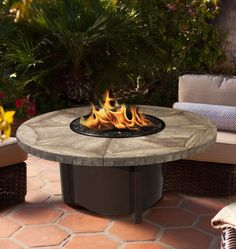 """Carmel Chat Height Fire Pit-Brown-Gold Reflective Glass-GRAY TRAVERTINE 48"""" Tile Top"""