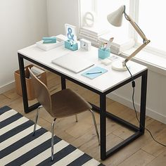 Finn White Top Desk With Black Base | Crate And Barrel