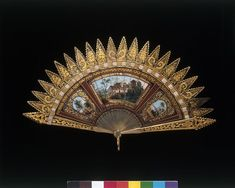 1820-1840, United Kingdom - Fan - Horn sticks, painted with gouache, with pierced metal guards