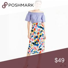 J.Crew Pintucked floral skirt Great condition! 51% lyocell. 49% Linen. Covershot from j.crew.com. J. Crew Skirts