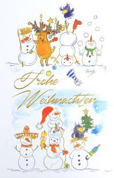 Auch Schneemänner wissen, wie man richtig feiert... Snoopy, Fictional Characters, Script Logo, Xmas Cards, Knowledge, Funny, Weihnachten