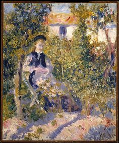 Auguste Renoir (French, 1841–1919). Nini in the Garden (Nini Lopez), 1876. The Metropolitan Museum of Art, New York. The Walter H. and Leonore Annenberg Collection, Gift of Walter H. and Leonore Annenberg, 2002, Bequest of Walter H. Annenberg, 2002 (2002.62.2)   Renoir's model, Nini Lopez, sits in the large garden adjacent to the artist's studio at 12 rue Cortot, in Montmartre. #spring