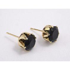 Aros de Acero  Quirúrgico 316-L Color Dorado Modelo Copa Rey Cristal Swarovski Elements Color Negro