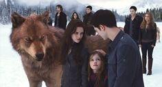 Bella Edward and Reneesme with Jacob in the Twilight Saga Breaking Dawn