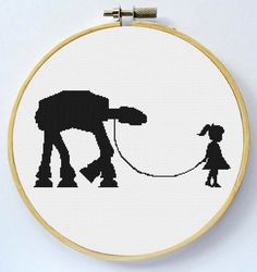Girl walking her ATAT - Cross Stitch Pattern - Instant Download