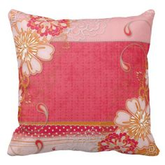 Pink Red Floral Square Throw Pillow