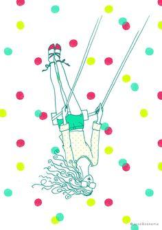 New energy - Summer break - Illustration by José Boekema - swing polka dots