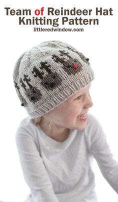 This cute little team of reindeer hat knitting pattern has an entire team of cute reindeer around the brim ready to pull Santa's sleigh! Baby Hat Knitting Pattern, Fair Isle Knitting Patterns, Baby Hat Patterns, Crochet Patterns, Crochet Beanie, Knitted Hats, Crochet Hats, Reindeer Noses, Pattern Library