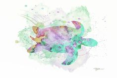 Sea Turtle by Pamela Williams #sharepamsart #turtle #worldoceansday #fineart #tortoise #watercolor