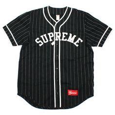 SUPREME(シュプリーム) ストライプ柄ベースボールシャツ【黒白】