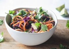 sweet potato noodles with almond-miso sauce - Dishing Up the Dirt