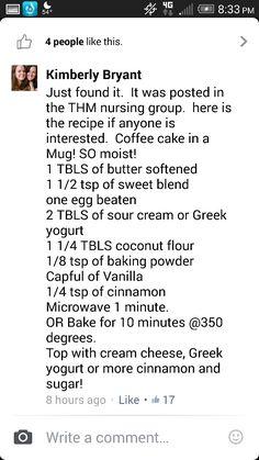 THM Coffee Cake in a Mug