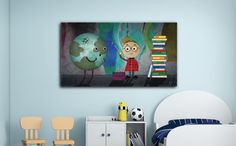 Digital Art / Painting Wallpaper Fixing the planet Little prince Earth Books Values Image File Download by JobelArts on Etsy