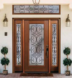 Mahogany Exterior Doors with Sidelights and Transoms 68 FRONT