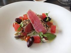 Elephant Hill Estate & Winery Photos & Images | MenuMania - Seared Tuna with roast olives, compressed watermelon, basil & anchovies