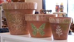 Decorate a Terra Cotta Plant Pot with Acrylic Paint and Stencils - http://schnarrsblog.com/decorate-a-terra-cotta-plant-pot-with-acrylic-paint-and-stencils/