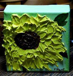 Sunflower Art,Cubicle Decor,4X Canvas,Made in Michigan,Housewarming Gift,Hostess #Impressionism