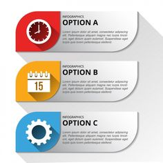 Three banners with options for an infographic Free Vector